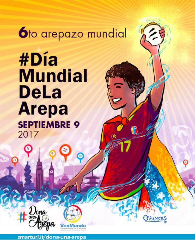 Cartel promocional del Día Mundial de la Arepa.