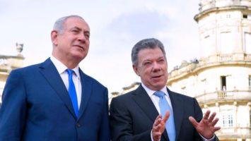 Benjamin Netanyahu primer ministro de Israel junto al presidente de Colombia Juan Manuel Santos.