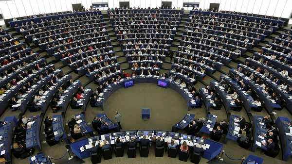 Parte interna del edificio de la Unión Europea.