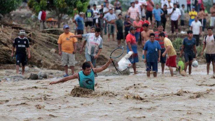 Zona afectada durante las inundaciones en Perú.