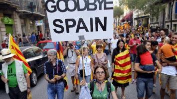 Catalanes en huelga.