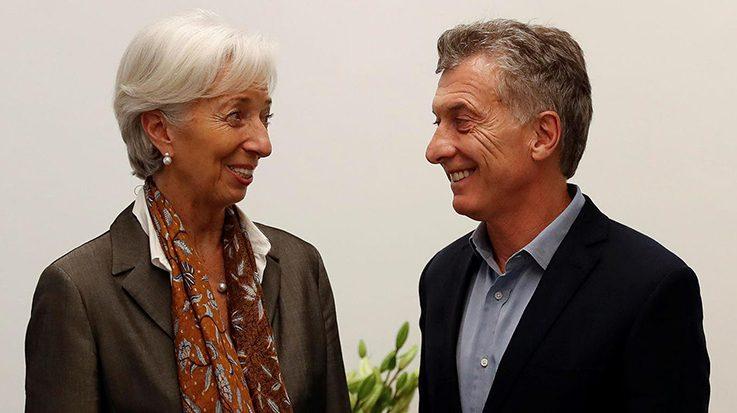 Christine Lagarde, directora gerente del FMI, junto al presidente de Argentina, Mauricio Macri.