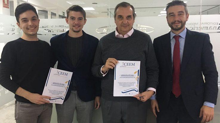 Miembros del Consejo de Estudiantes de Medicina (CEEM) y la Editorial Médica Panamericana.