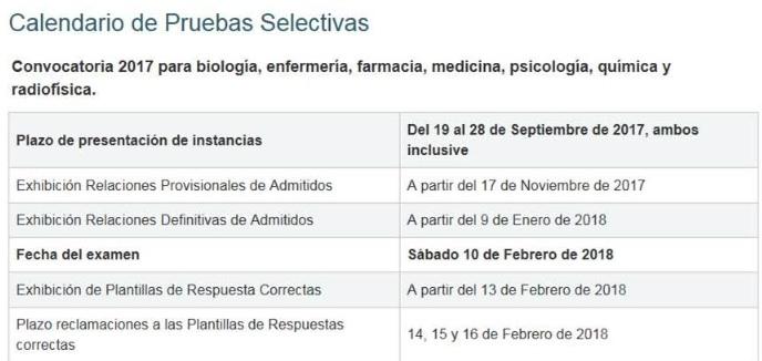 Calendario de las pruebas selectivas de formación sanitaria especializada.