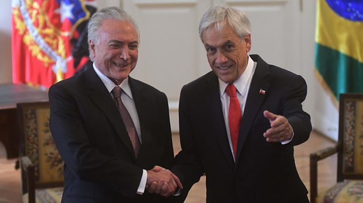 Michel Temer, presidente de Brasil, y Sebastián Piñera, presidente de Chile.