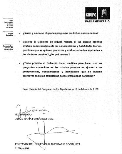 Las preguntas de Jesús María Fernández al Gobierno sobre el examen EIR 2018.