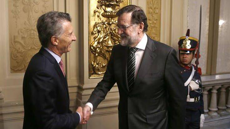 Mauricio Macri, presidente de Argentina junto a Mariano Rajoy, presidente de España.