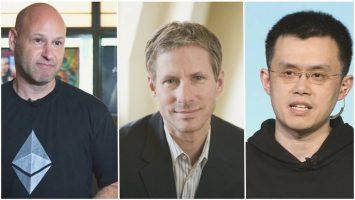 Joseph Lubin, cofundador de Ethereum; Chris Larsen, cofundador de Ripple; y Changpeng Zhao, CEO de Binance.