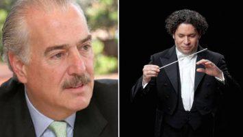 Andrés Pastrana Arango, expresidente de Colombia, y Gustavo Adolfo Dudamel Ramírez, compositor y director de orquesta venezolano.