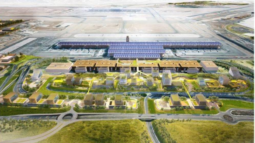 Modelo del plan inmobiliario del complejo del aeropuerto Adolfo Suárez Madrid-Barajas.