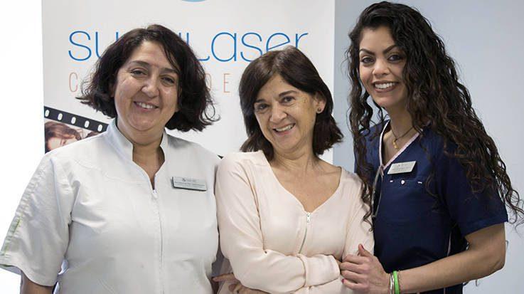 María del Pilar García Acevedo y Esperanza García Acevedo, fundadoras de SuaviLaser, junto a Carmen Odreman, una de las integrantes del equipo.
