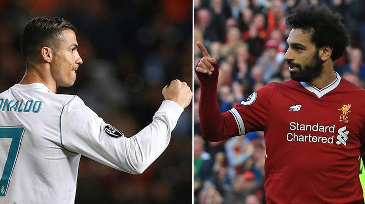 Cristiano Ronaldo, jugador del Real Madrid y Mohamed Salah, jugador del Liverpool FC.