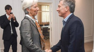 Christine Lagarde, presidenta del Fondo Monetario Internacional; y Mauricio Macri, presidente de Argentina.