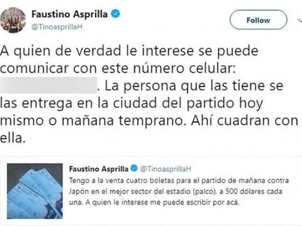 Tweet de Faustino Asprilla ofreciendo cuatro entradas de palco para el partido entre Colombia y Japón por 500 dólares cada uno.
