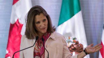 Chrystia Freeland, ministra de Exteriores de Canadá, visitará México el 25 de julio.