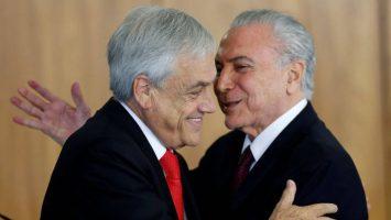 Sebastián Piñera, presidente de Chile, y Michel Temer, presidente de Brasil.