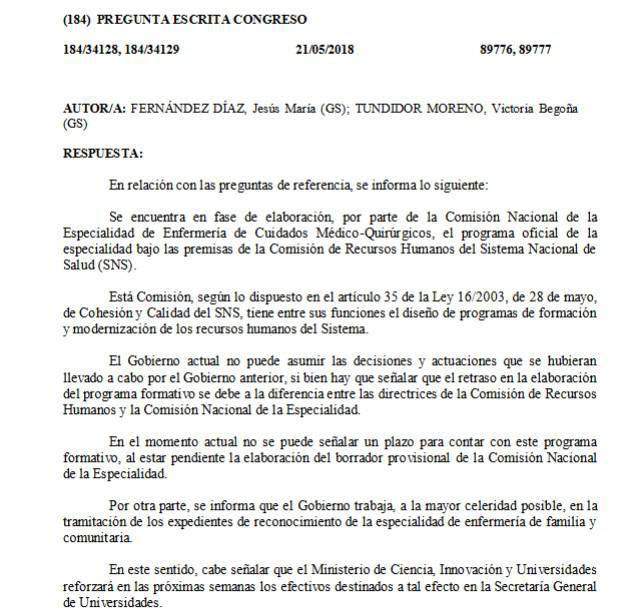 Respuesta del Gobierno español en relación a la incorporación de la especialidad Cuidados Médicos-Quirúrgicos en el EIR.