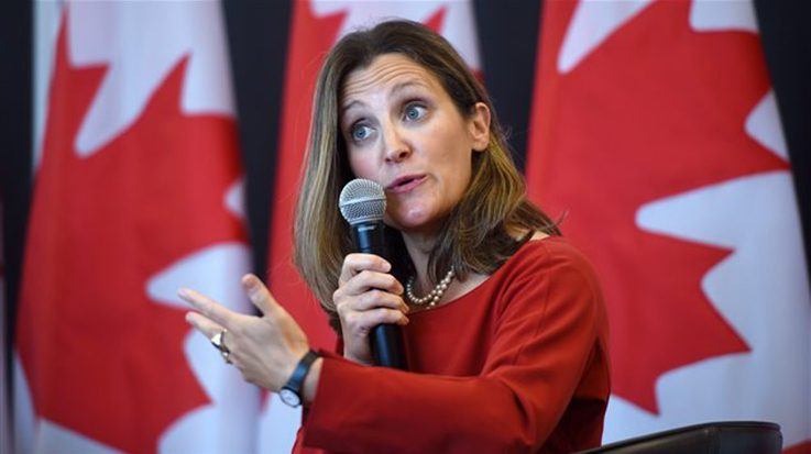 Chrystia Freeland, ministra de Asuntos Exteriores de Canadá.