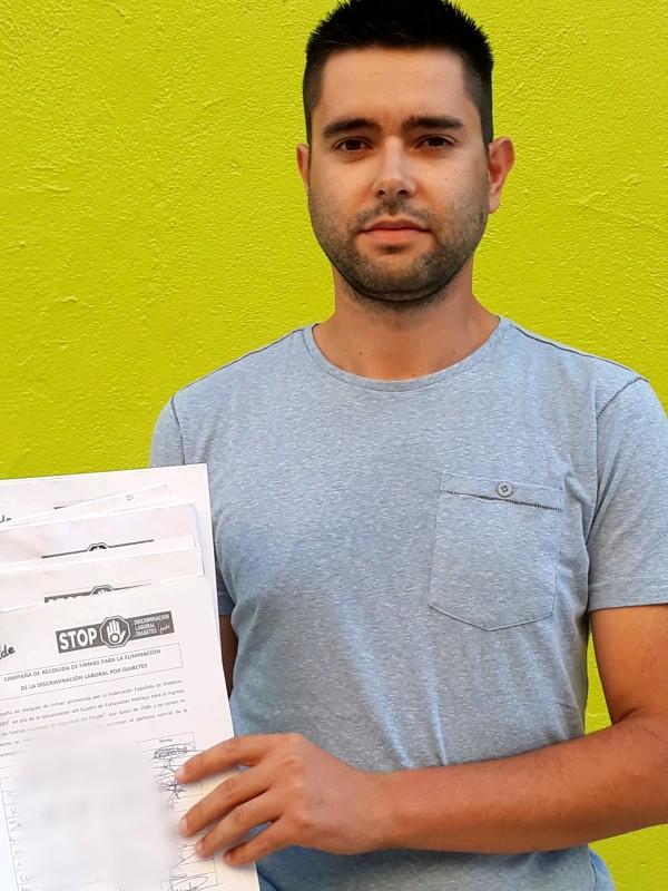Alberto Sánchez cuenta con el apoyo de la Federación Nacional de la Diabetes en su recolecta de firmas.