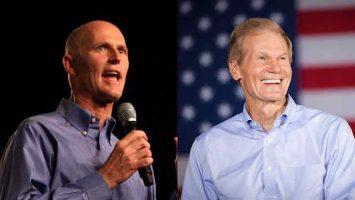 Los aspirantes al Senado de la Florida Rick Scott y Bill Nelson.