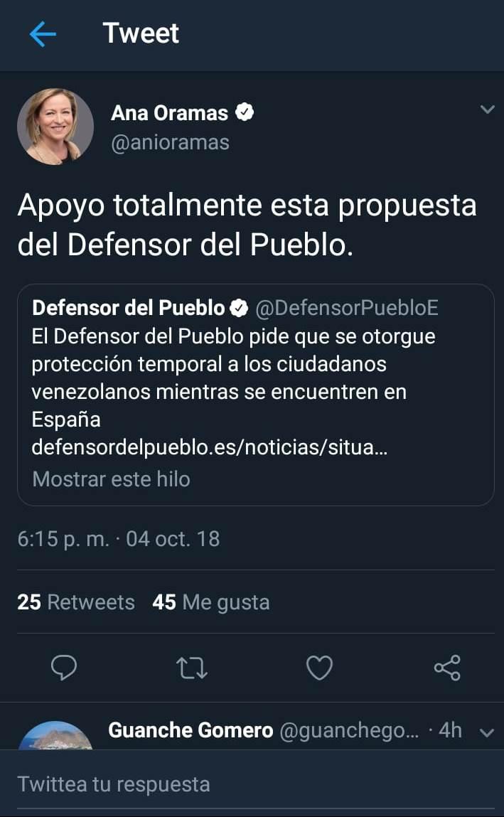 """El Tweet de la diputada Ana María Oramas ofreciendo su """"apoyo total"""" a la propuesta planteada por el Defensor del Pueblo."""