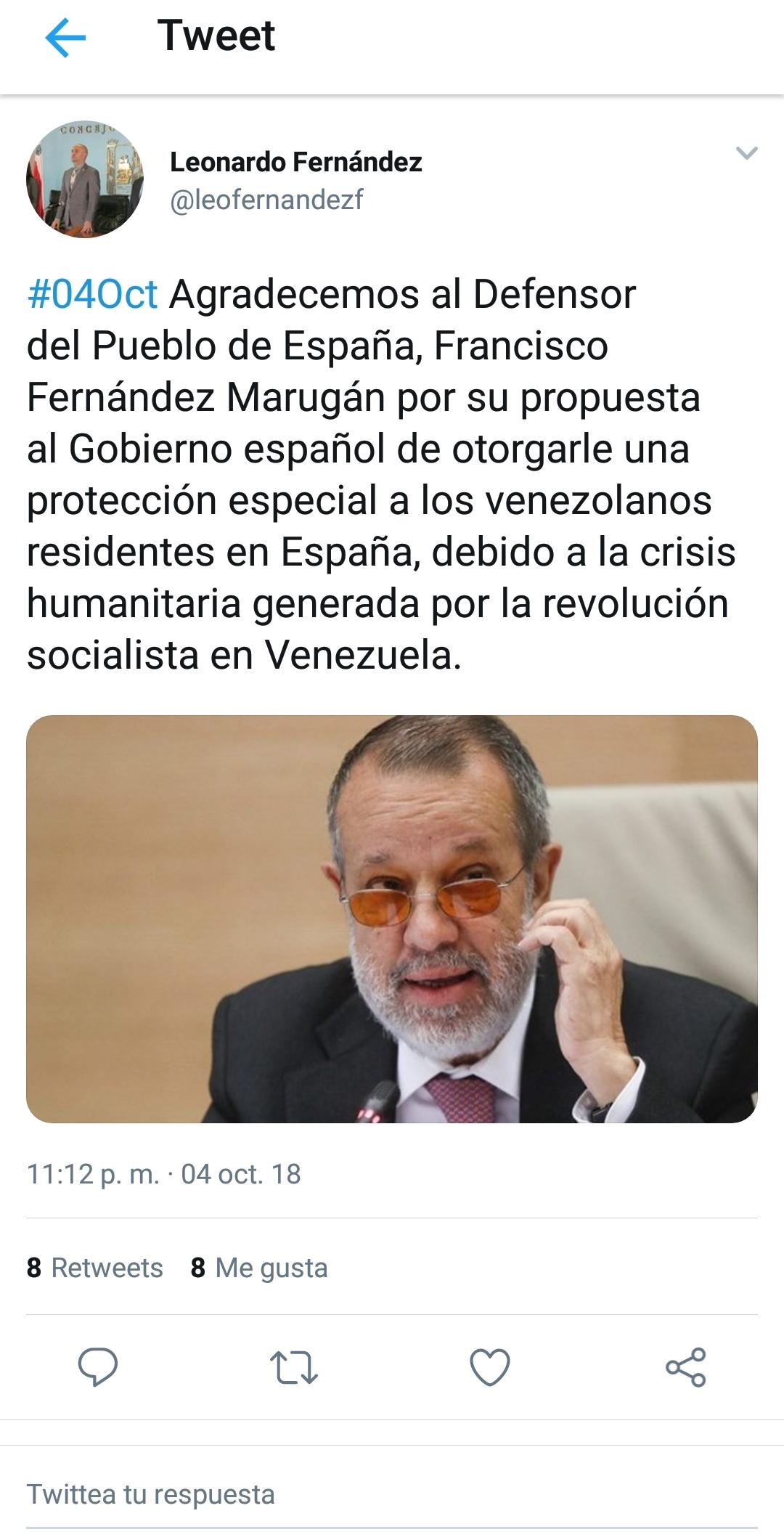 El Tweet del Concejal de Maracaibo, Leonardo Fernández, agradeciéndole al Defensor del Pueblo por su propuesta de otorgar la Protección Temporal a los venezolanos ante el Gobierno Español.