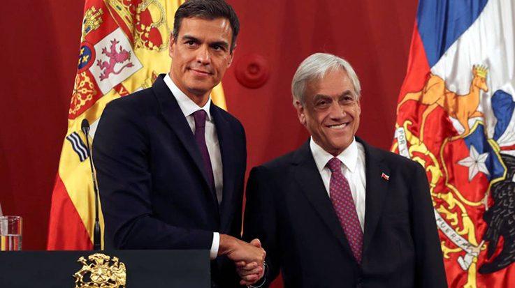 El presidente de Chile, Sebastián Piñera, se reunirá con el presidente Pedro Sánchez en el marco de su gira por Europa.