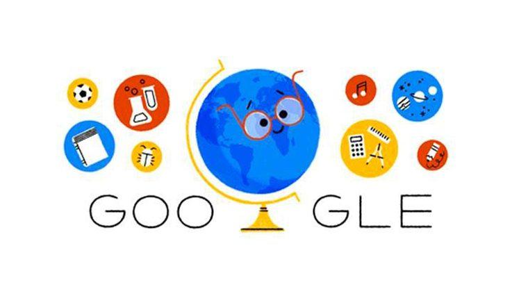Foto A: Google celebra el Día del Maestro en Chile dedicando un 'doodle' especial a los profesores.