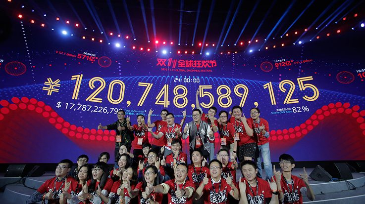 Alibaba factura 27.330 millones de euros en ventas por el 'Día del Soltero'.