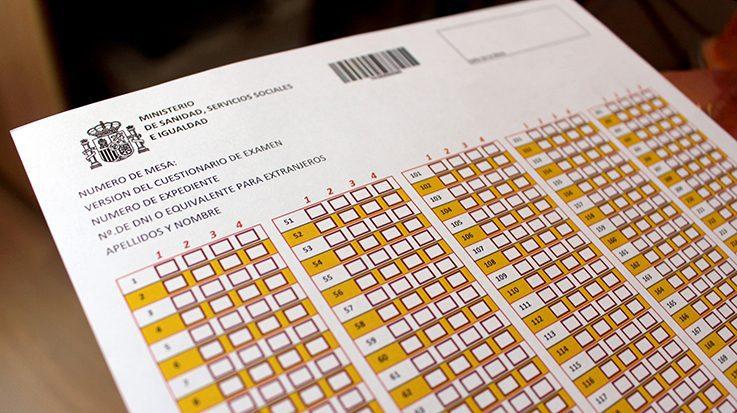 Hoja de respuestas del examen MIR.