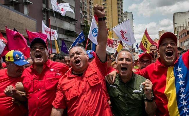 Manifestación chavista en Venezuela