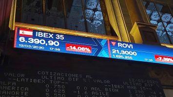 El Ibex 35 se desploma 10% a media sesión